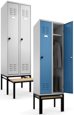 multilocker garderobenschrank auf untergestell mit ausziehbarer sitzbank. Black Bedroom Furniture Sets. Home Design Ideas